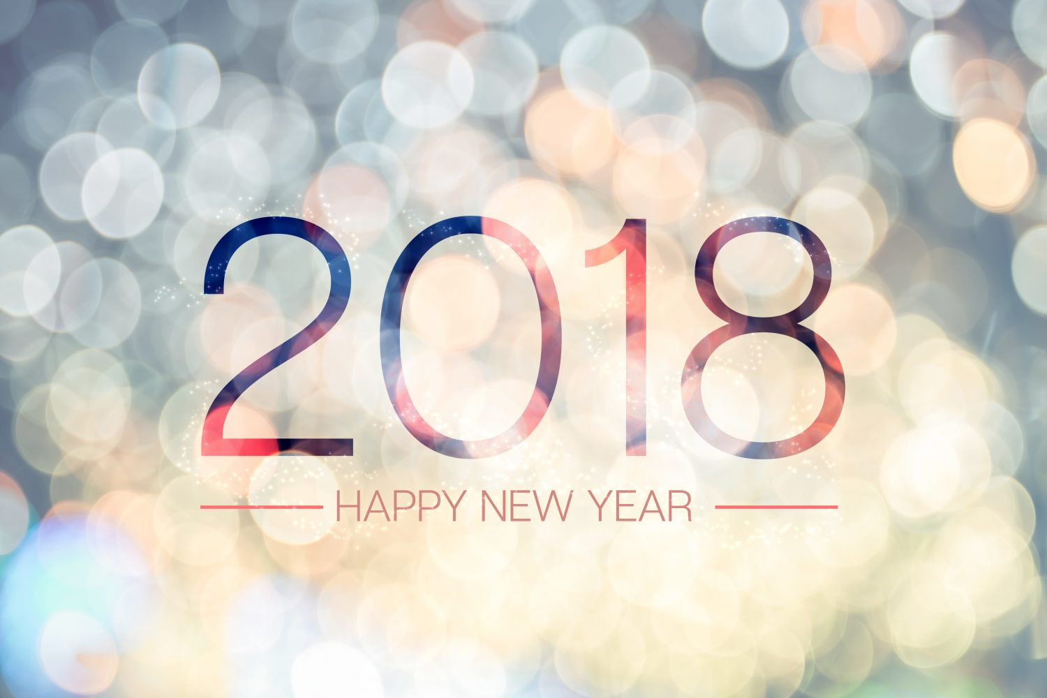 Happy New Year 2018 With Pale Yellow Bokeh Light Sparkling Background,Holiday Greeting Card.