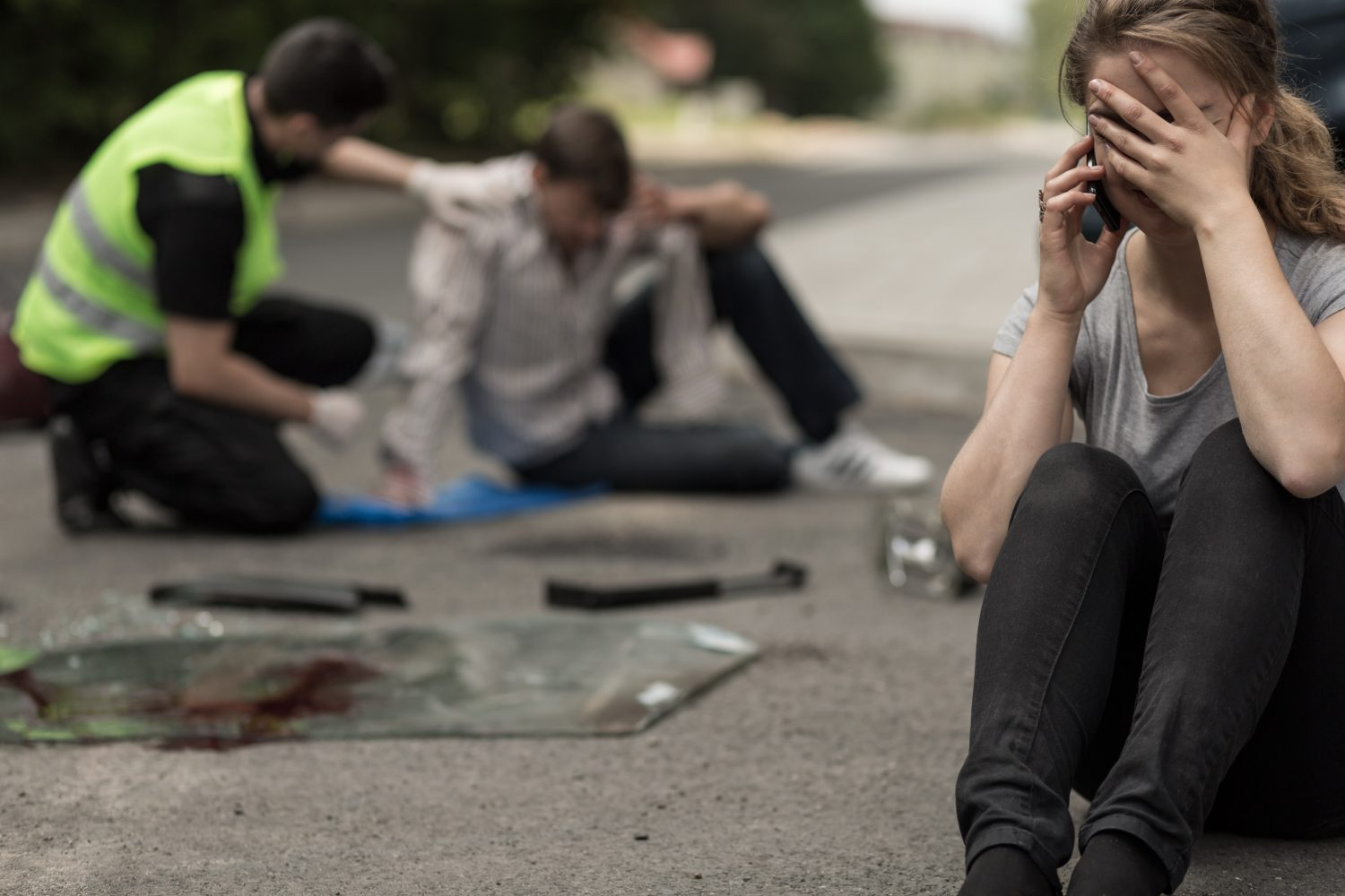 Despair Young Female Driver After Traffic Accident